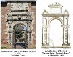 Ancienne porte du Capitole réédifiée dans le jardin des Plantes de Toulouse - English: Influence of an engraving by Serlio.