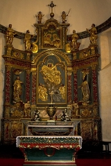 Eglise Notre-Dame -   Altarpiece and tabernacle of the high altar: Until the end of XVII e century, the church was dedicated to St. Catherine. It becomes Notre Dame Church after the construction of the altarpiece of the Assumption of the Virgin.