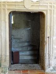 Eglise de Mazères - Français:   Castelnau-Rivière-Basse - Mazères - Église Saint-Jean-Baptiste - Intérieur - Porte donnant accès à la tour-escalier