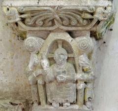 Eglise de Mazères - Français:   Castelnau-Rivière-Basse - Mazères - Église Saint-Jean-Baptiste - Intérieur - Chevet - chapiteau: Christ en majesté