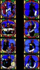 Eglise Saint-Jean-Baptiste - Français:   Caylus - Eglise Saint-Jean-Baptiste -Vitrail dans l\'axe du chevet: partie supérieure - A gauche scènes de la vie du Christ, à droite, prophètes de l\'Ancien Testament (de haut en bas: Isaïe, Jérémie, Ezéchiel, Daniel)