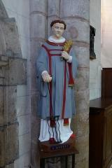 Eglise Notre-Dame - statue de saint Laurent, église Notre-Dame de Bonneval, Eure-et-Loir, France.