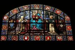 Eglise Notre-Dame -  Dation du rosaire à Saint-Dominique. Portait de Léon XIII. Vitrail de l'église Notre-Dame - Bonneval (Eure-et-Loir - France)