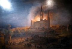 Ancien évêché et ses jardins, actuellement Musée des Beaux-Arts - tableau représentant l'incendie de la cathédrale de Chartres du 4 juin 1836 par François-Alexandre Pernot (1837), musée des beaux-arts de Chartres (inv. 3552), Eure-et-Loir, France.