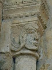 Eglise de la Madeleine - English: St. Madeleine Church in Châteaudun: capital featuring head of Man