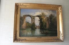 Ancien aqueduc de Pontgouin à Versailles (également sur communes de Maintenon et Berchères-Saint-Germain) - Français:   Le château de Maintenon vu à travers l\'aqueduc. Huile sur toile, François-Edmée Ricois (original exposé au château).