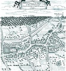 Ancien aqueduc de Pontgouin à Versailles (également sur communes de Maintenon et Berchères-Saint-Germain) - Français:   Lithographie château famille d\'Allonville Beauce Chartres 1696