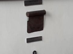 Ancien hôtel du Maréchal Bertrand - Français:   Couteau à pâte.  Exposé dans une salle reconstituant une cuisine traditionnelle du Berry. Métal. Non daté (sans doute XIXe ou XXe siècle). Musée Bertrand, à Châteauroux, dans l\'Indre, en France.  [Partie de l\'étiquette peu lisible: \
