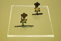 Ancien hôtel-Dieu - Issoudun (Indre).  Musée de l\'Hospice Saint-Roch.  Fibules (vers 450 avant J.-C.)  Mobilier funéraire extrait du tumulus de Lizeray à Paudy (Indre), en 1975. Les parures trouvées semblent désigner une sépulture féminine.   Ces fibules (sortes de broches), sont décorées d\'un disque plaqué à la feuille d\'or. Les quatre logements devaient permettre le sertissage de perles de corail.