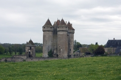 Château - English:  Castle of Sarzay, seen from the road to Santiago at the entrance of the village.