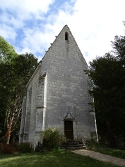 Château des Brétignolles - Français:   Façade de la chapelle seigneuriale du château des Brétignolles à Anché, construite en 1507 sous l\'ordre d\'Antoine Bernard, seigneur des Brétignolles. Elle est dédiée à Notre-Dame de Pitié et Sainte-Marie Madeleine.