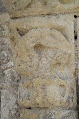 Eglise Notre-Dame - Deutsch:   Katholische Pfarrkirche Notre-Dame in La Celle-Guenand im Département Indre-et-Loire (Centre-Val de Loire/Frankreich), Kapitell am Portal