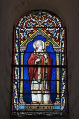Eglise Notre-Dame - Deutsch:   Katholische Pfarrkirche Notre-Dame in La Celle-Guenand im Département Indre-et-Loire (Centre-Val de Loire/Frankreich), Bleiglasfenster: Darstellung: Heiliger Gatianus