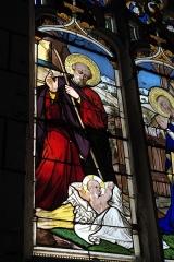 Eglise Notre-Dame - Deutsch:   Katholische Pfarrkirche Notre-Dame in La Celle-Guenand im Département Indre-et-Loire (Centre-Val de Loire/Frankreich), Bleiglasfenster: Darstellung: Geburt Christi (Ausschnitt)