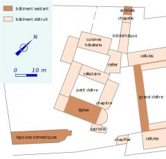 Ancienne chartreuse du Liget - Français:   Bâtiments monastiques de la chartreuse vers 1750