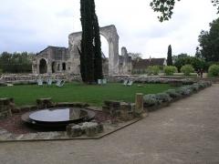 Ancien prieuré de Saint-Cosme - Deutsch: Ruine der Kirche, im Vordergrund Garten mit Wasserschale