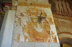 Eglise Saint-Genest - Lavardin (Loir-et-Cher)  Eglise Saint-Genest.   Fresques XVe: Saint-Christophe porte l\'enfant Jésus sur son épaule.