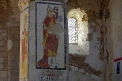 Eglise Saint-Genest - Lavardin (Loir-et-Cher)  Eglise Saint-Genest.   Fresque du XVe siècle. Saint-Ambroise.