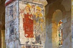 Eglise Saint-Genest - Lavardin (Loir-et-Cher)  Eglise Saint-Genest.   Fresque du XVe siècle. Saint-Thibault et Saint-Maur
