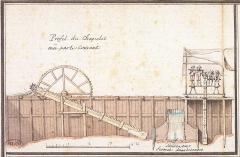Pont George V -  Pont George V, chapelet permettant d'épuiser l'eau lors de la construction de la pile 1  en 1751, Orléans, Loiret, France