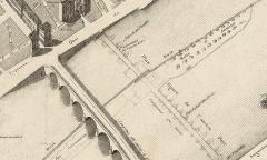 Pont George V -  Plan de la ville d'Orléans par Alphonse Gatineau, imprimeur, 1836, détail: le pont Royal et l'ancien pont des Tourelles (détruit).