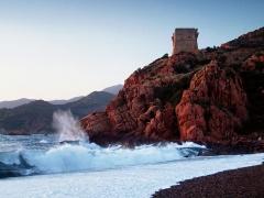 Tour génoise de Porto -  Ota (Corsica) - La tour génoise de Porto au couchant