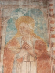 Eglise Saint-Thomas de Pastoreccia - Deutsch: Heilige, Freske 15/16.JH auf der Südwand.