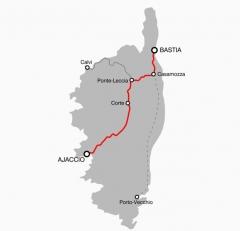 Viaduc sur le Vecchio ou pont Eiffel (également sur commune de Vivario) - Italiano: Mappa della ferrovia Bastia-Ajaccio