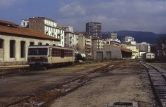 Viaduc sur le Vecchio ou pont Eiffel (également sur commune de Vivario) -  Single railcar X5002 is seen stabled at Ajaccio on the metre gauge Corsican railways on 30 March 1996.