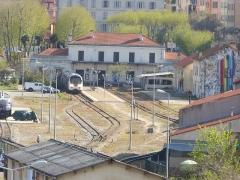 Viaduc sur le Vecchio ou pont Eiffel (également sur commune de Vivario) - Deutsch: Gleisvorfeld des Bahnhofs von Ajaccio