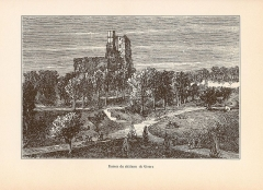 Restes du château - English: Engraving of the ruins of the castle of Gisors in the book Le Département de L'Eure (1882) by Victor Adolphe Malte-Brun (1816 – 1889).