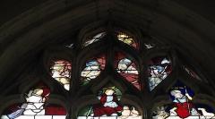 Eglise - Deutsch:   Katholische Kirche Saint-Hilaire in Tillières-sur-Avre im Département Eure (Region Normandie/Frankreich), Bleiglasfenster in der Sakristei, um 1520/30; Darstellung: Heiliger Sebastian, heiliger Adrian, heiliger Rochus von Montpellier