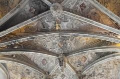 Eglise - Deutsch:   Katholische Kirche Saint-Hilaire in Tillières-sur-Avre im Département Eure (Region Normandie/Frankreich), Gewölbe mit Schlusssteinen aus dem 16. Jahrhundert