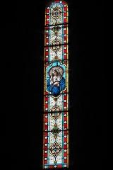Ancien prieuré Saint-Michel des Anges - Deutsch: Ehemalige Prioratskirche Saint-Michel-des-Anges in Saint-Angel im Département Corrèze (Nouvelle-Aquitaine/Frankreich), Bleiglasfenster; Darstellung: Maria