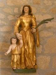 Eglise Saint-Cyr-Sainte-Julitte - Français:   Statue du XVIIe siècle en bois doré et peint représentant saint Cyr et sainte Julitte, église de Saint-Cirgues-la-Loutre, Corrèze, France.