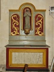 Eglise Sainte-Valérie, dite église du Moutier - Français:   Retable et statue du XIXe siècle de saint Fiacre, église Sainte-Valérie de Felletin, Creuse, France.