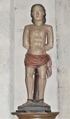 Eglise Sainte-Valérie, dite église du Moutier - Français:   Statue du XVIIe siècle en bois polychrome représentant saint Sébastien; église Sainte-Valérie de Felletin, Creuse, France.