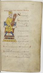 Ancienne abbaye Saint-Martial - Eesti: Lehekülg 11. sajandi tonarius'est, esimene toon, illustratsioonil kuningas Taavet