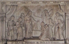 Eglise Saint-Michel-des-Lions - English: St Valerie of Limoges presents her own head to St Martial, altar in St Michel des Lions, Limoges.