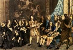 Maison de maître drapier, dite maison des Mariages ou maison Normande, ou maison des Quatre-Fils-Aymon, actuellement Musée national de l'Education -  Racine fait répéter Esther aux élèves de Saint-Cyr devant Louis XIV et Madame de Maintenon. Peinture de 1830, Musée de l'éducation à Rouen.