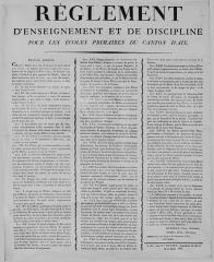 Maison de maître drapier, dite maison des Mariages ou maison Normande, ou maison des Quatre-Fils-Aymon, actuellement Musée national de l'Education -  Affiche exposant le règlement des écoles du canton d'AIX. environ 100 x 60 cm. 1820. Musée national de l'éducation (Rouen).
