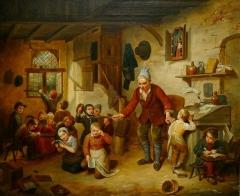 Maison de maître drapier, dite maison des Mariages ou maison Normande, ou maison des Quatre-Fils-Aymon, actuellement Musée national de l'Education -  Scène de classe, 1842, huile sur toile de Léopold Chibourg (né en 1823). Musée national de l'éducation (Rouen).