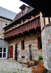 Maison dite de Henri IV - Deutsch: Innenhof des Henri-IV-Hauses, Saint-Valéry-en-Caux, Département Seine-Maritime, Region Normandie (ehemals Ober-Normandie), Frankreich