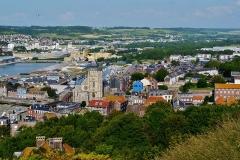 Eglise Saint-Jacques - Deutsch:   Blick von der Klippen von Le Tréport auf Le Tréport, Le Tréport, Département Seine-Maritime, Region Normandie (ehemals Ober-Normandie), Frankreich