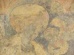 Eglise Saint-Laon - Français:   Intérieur de l\'abbatiale Saint-Laon de Thouars (79). Peinture murale. Sainte-Marguerite-d\'Antioche.
