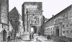 Porte Noire - Français:   Gravure de la Porte noire de Besançon