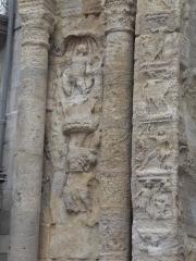 Porte Noire - Français:   Vue détaillée de la Porte Noire de Besançon: piédroit Est, étage inférieur. Représentation de la déesse Vénus et du Dieu Mars.