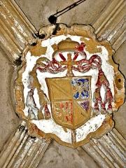 Eglise - Français:   Clé de voûte blasonnée, dans l\'église de Chaux-Neuve. Doubs