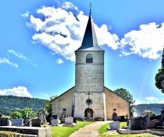 Eglise - Français:   Porche et clocher de l\'église de Chaux-Neuve. Doubs