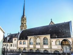 Eglise catholique Saint-Maimboeuf - Français:   Flèche de l\'église Saint Maimboeuf et salle Jean XXIII. Montbéliard. Doubs